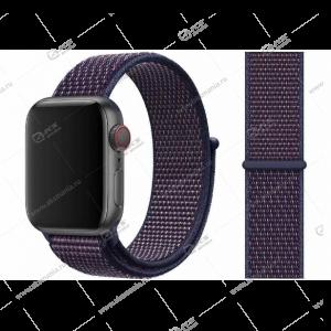 Ремешок нейлоновый для Apple Watch 38mm/ 40mm черно-фиолетовый