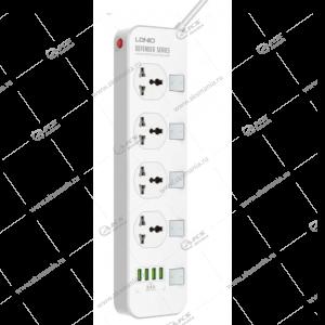Сетевой фильтр LDNIO 4 розетки 2м (SC4408) +4 USB 3,4A