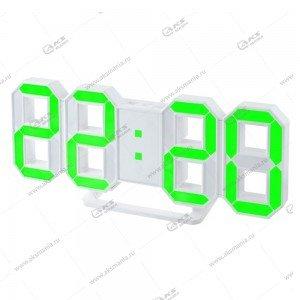 Часы Perfeo Luminous PF-663 белый корпус / зелёная подсветка