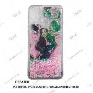 Силикон Аквариум Huawei Honor 9C/P40 Lite E Девушка с шарами розовый