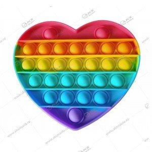 Игрушка Антистресс Pop it резиновые пузырьки (сердце)