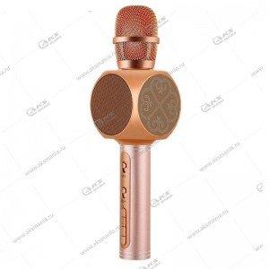 Беспроводной караоке микрофон YS-63 розовое золото