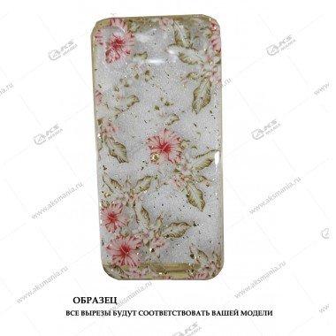 Силикон Huawei Honor 9 Lite прозрачный c блестками принт цветы