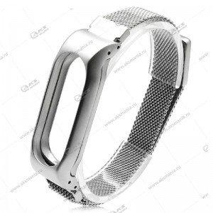 Ремешок на Mi Band 2 крупное звено серебро