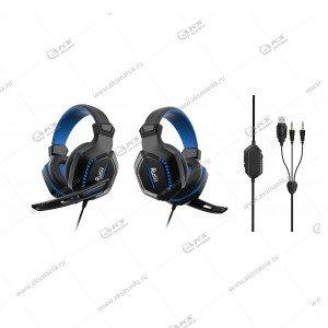 Наушники Smartbuy SBHG-9660 Rush Crush'EM, LED-подсветка, Игровые черно-синие