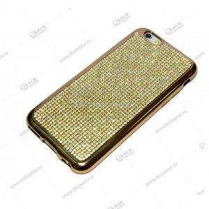 Силикон Samsung S6 весь в стразах золотой