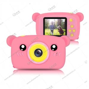 Детский фотоаппарат Zoo Kids Camera мишка розовый