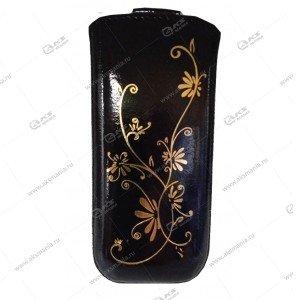 Чехол кожа с язычком (11х5,5см) la fleur эра черный