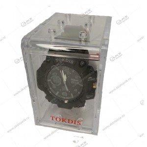 Наручные часы KASIO водонепроницаемые в пластике черно-серые