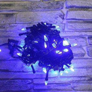 Гирлянда черный провод диод в виде конуса 200LED 15м синий
