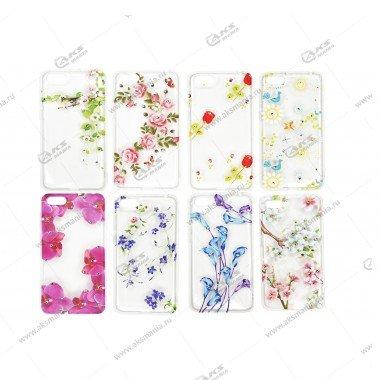 Силикон Huawei Honor P20 прозрачный цветы стразы