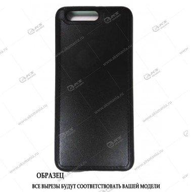 Силикон Huawei Y7-2017 (Prime) кожа с логотипом черный