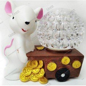 """Светодиодная лампа-шар на подставке """"Крыса"""" белый"""