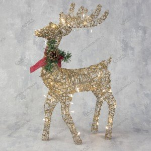 Новогоднее световое украшение Олень 55см золотой