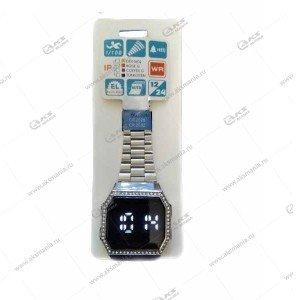 Наручные часы KASIO LED сенсорные серебро со стразами