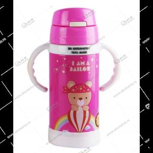 Детская бутылочка с трубочкой ручками 858 300мл розовый