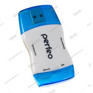 Perfeo Card Reader SD/MMC+Micro SD+MS+M2, (PF-VI-R016 Blue) синий