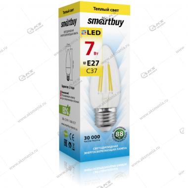 Лампа светодиодная Smartbuy C37-7W-220V-3000K-E27 (свеча, теплый свет)