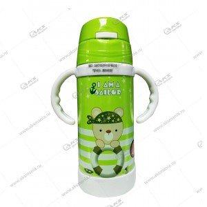 Детская бутылочка с трубочкой ручками 858 300мл зеленый