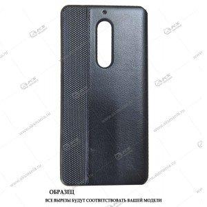 Силикон Huawei Y5 2017 кожа-сетка с логотипом черный