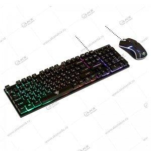 Комплект проводной KMG-2305U Black Nakatomi Gaming - клавиатура+опт.мышь с RGB подсветкой