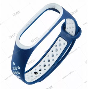 Ремешок на Mi Band 3/4 Перфорированный синий с белым