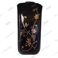 Чехол кожа с язычком (12,5х6,5см) la fleur эра черный