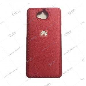 Силикон Huawei Honor Y9 (2018) кожа с логотипом красный