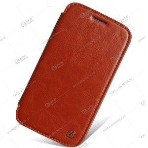 Книга горизонтал HTC One Mini M4 коричневый Hoco