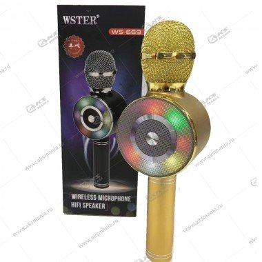 Беспроводной караоке микрофон WS-669 золотой