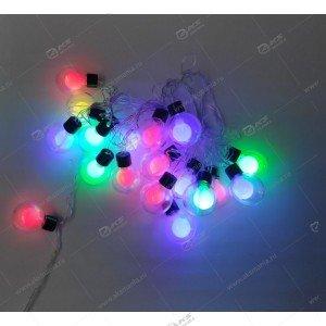 Гирлянда силиконовый провод  матовый шар в колбе разноцвет,