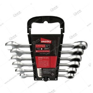 Набор ключей Smartbuy комбинир., 6 предм., с фикс. трещот. 72 зуба, (SBT-WS-6P1)