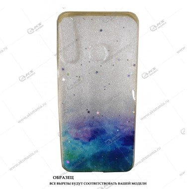 Силикон Huawei Honor 9С прозрачный Акварель с блестками синий