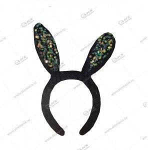Меховой обруч на голову с ушами паетки черный