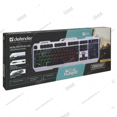 Клавиатура Defender Metal Hunter GK-140L RGB подсветка, Игровая, Влагоустойчивая