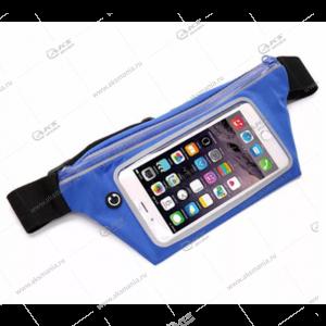 """Спортивная чехол-сумка """"Бананка"""" с прозрачным окном для телефона синяя"""