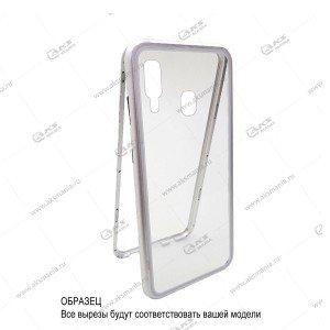 Магнитный чехол 360гр. Samsung S9 серебро