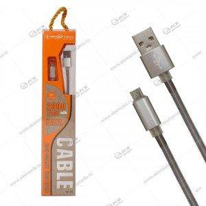 Кабель Afka-Tech USB Micro CC-13 1м. металлический серый