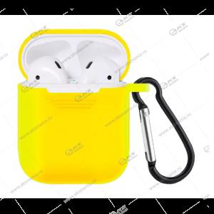 Силиконовый чехол для Airpods 2 с карабином Yellow