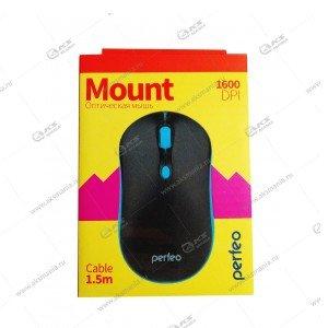 Мышь проводная Perfeo Mount PF_A4510 черно-голубой