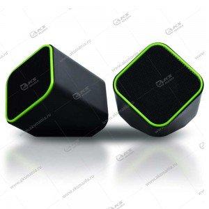 Компьютерные колонки SmartBuy CUTE, мощность 6Вт, USB, чёрные/зеленые. (SBA-2580)