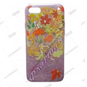 Силикон блестки iPhone 7G 3в1 цветок розовый