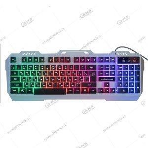 Клавиатура KG-35U Dialog Nakatomi - игровая с подсветкой, корпус металл, USB, серебристая