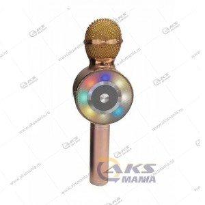 Беспроводной караоке микрофон WS-669 розовое золото