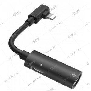 Переходник Hoco LS18 dual lightning and audio converter черный
