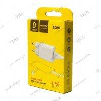 СЗУ Denmen DC01T 1USB 2.4A + кабель Type-C белый