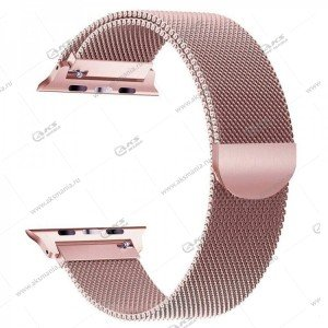 Ремешок миланская петля для Apple Watch 42mm/ 44mm розовое золото