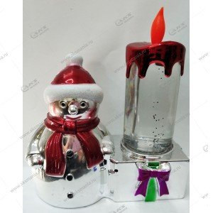 Светодиодная лампа Свеча со снеговиком красный