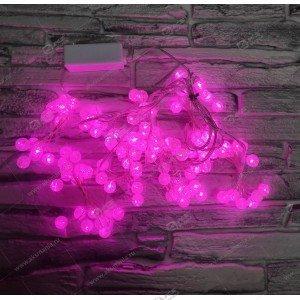 Гирлянда штора проволка бусина стекло 1,5х1,5м розовый