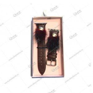 Ремешок кожаный с мехом для Apple Watch 38mm/ 40mm коричневый